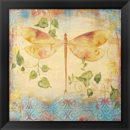 Framed Aqua Dreams Dragonfly Print
