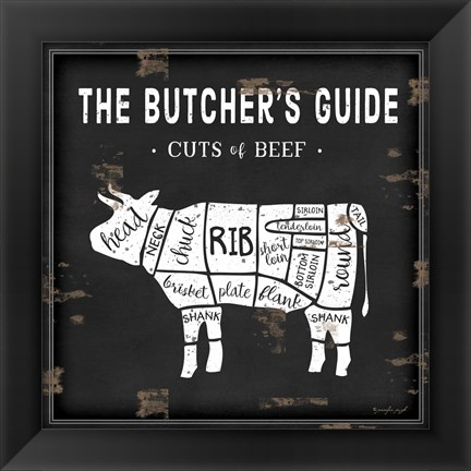 Framed Butcher's Guide Cow Print