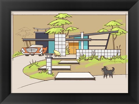 Framed Mid-Century House #1 - Chrysler Black Dog Print