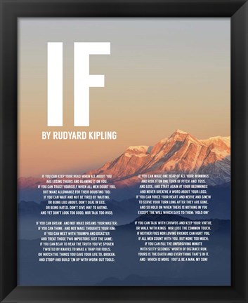Framed If by Rudyard Kipling - Mountain Sunset Print