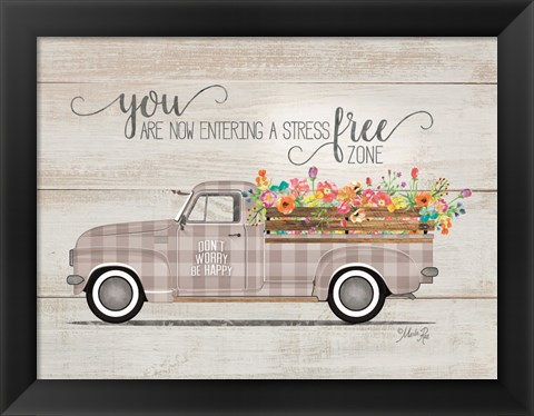 Framed Be Happy Vintage Truck Print